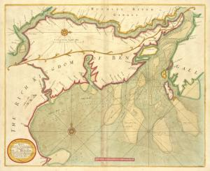 A new and correct chart shewing the goeing over the Braces with the sands shoals depth of water and anchorage from Point Palmiras to Hughley in the BAY of BENGALL