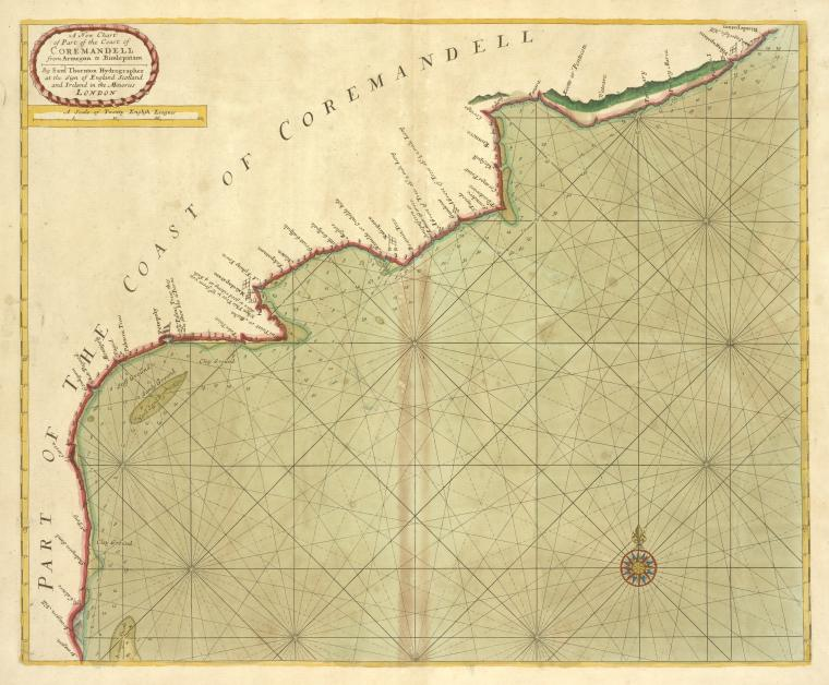 A new chart of part of the coast of COREMANDELL from Armegon to Bimlepatam