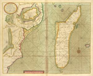 A new draught of the Island of MADAGASCAR ats St. LORENZO with Augustin Bay and the Island of Mombass at Large