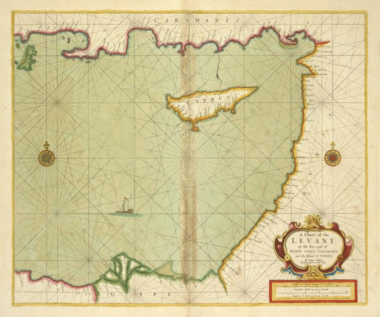 A chart of the LEVANT or the sea coast of Egypt, Syria, Caramania and the Island Cyprus