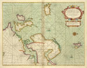 A Generall chart of the NORTHERN SEAS. Describing the sea coast and Islands from France to Greene land
