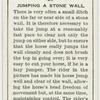 Jumping a stone wall.