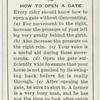 How to open a gate.