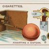 Adjusting a cistern.