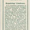 Repairing linoleum.