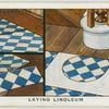 Laying linoleum.