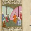 'Umayr, addressing a group of seated Muslim leaders, falsely accuses Muhammad of not paying a debt owed to him.