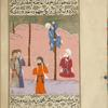 'Abd-Allâh ibn Ybayy climbs a date palm and announces that Muhammad is approaching Qubâ', a suburb of Medina.