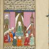 Muhammad offers the first prayer in a newly built mosque.