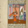 The angel Jibrîl stands before Muhammad and instructs him on the call to prayer.