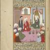 Muhammad sits before a mihrab discussing Islamic religious precepts with a Christian monk in the presence of nine of the Companions.