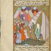 A scene similar to the one on f. 236v, but with the people now angrily questioning Muhammad and Abû Bakr.