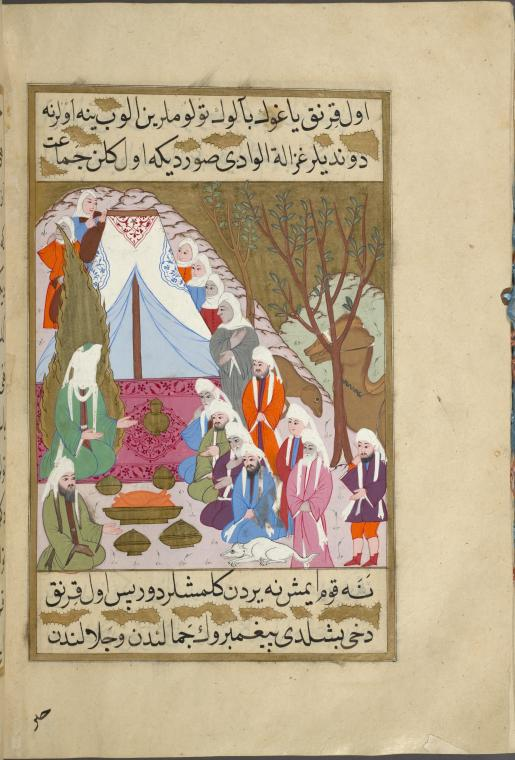 """Muhammad and Abu Bakr are feted by Umm Ma'badah's tribe,"" from a 16th-century illuminated manuscript depicting the life of the prophet Muhammad."