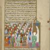 Muhammad at al-Masjid al-Aqsâ leads the earlier prophets and angels in prayer.