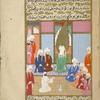 Umm Hakîm, in white robes and a black net face veil, seated before the Prophet, tells Muhammad that Abû Bakr would like to give his daughter 'Â'ishah in marriage to him.