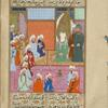 Meccan leaders and the Hashimites gather around Muhammad for the marriage ceremony.