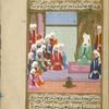 Hannâd ibn 'Umar and members of the Tamîm tribe seated before Muhammad.