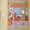 Nu'mân kisses the hand of Muhammad, embracing Islam.