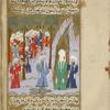 Mutî', who has been restored to life by the Prophet, stands in front of him, his idol lying at his feet, and he converts to Islam.