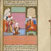 An old man who is cured after drinking from the miraculous healing fountain talks to the leader of the Banû Junda'.
