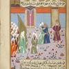 Hamza, who wishes to convert to Islam, is prevented from doing so by Abû Jahl, who encircles him with his arms.