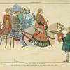 Calvalcade visitant un seigneur. Tiré d'une peinture de Michel Mattei da Bologna, a la pinacothèque de Veniose. Dessin inédit. XIVe siècle, costumes seigneuriaux, Italie.