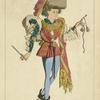 Jeune elégant, 1480. (Manuscrit biblio[thèque] de l'université de Turin.) Dessin inédit. XVe siecle, costumes civils, hommes, France.