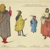 Personnages Veintiens de 1480-95. D'ap[rès] des peintures Debrera a Milan, et du Musée Correr a Venise. Page. D'ap[rès] Vittor Carpaccio. Homme d'Armes. D'ap[rès] un Venitien anonyme. Noble. D'ap[rès] un imprimé de 1485. Patricien. d'ap[rès] Viranini[?]