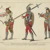 Gens d'armes de Venise fin du XVe siecle. Pentures de Vittor Carpaccio, a la pinacothèque de cette ville. Dessins inédits.
