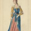 Dame Noble 1500-1510 d'après une tapisserie du temps, Musée de Cluny. XVIe siècle, costumes civils, femmes, Flandre.