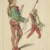Écuyers, 1500-15 (Tapisserie. Musée de Cluny. Dessin inédit.)  XVIe siècle, costumes de chevalerie, Flandre.