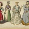 XVIe siecle. Dames de France et D'Allemagne. D'apr[res] Holbein, Weigel, Joos de Boscher, etc. Suissesse. 1530-40. Allemande. 1560-80. Venitienne. 1580-85. Parisienne. 1580-90.