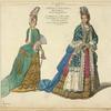 Mlle. de Keroual cree duchesse de Portsmouth, par Charles II roi d'Angleterre. La marquise de Belfont, fille du duc de Mazarin. Costumes de 1694-5. D'ap[rès] la collection de Bonnart.