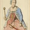 Marie Therèse d'Autriche (costume royal) (gravure du temps) XVIIIe siècle, costumes nationaux, femmes, Hongrie.