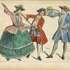 XVIIIe siècle Espagnols a la chasse. Gravure anony[me] de l'époque.