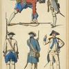 Infanterie Francaise, 2me moitie du XVIIIme siecle. Soldats. 1756. Officier au salut. 1765. Soldat. 1767. Capitaine. 1784.