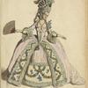 Riche mariee, en robe de ceremonie. Paris. 1774-80. D'ap[rès] une gravure de l'epoque.