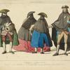 Masques Venitiens, a, b, c, (de l'oeuvre de J. B. Tiepolo) d, d'ap[rès] une gravure de Jn. David (1775). XVIIe siècle, travestissements, Italie.