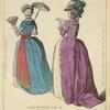 Dames Francaises. 1778-79. D'ap[rès] nature par Desrais. Robe a la Levantine, cheveux a l'enfance. Robe Polonaise, taille a l'Anglaise, manches a la circassienne.