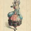 Courtisane en 1780, d'après une gravure de Wille Fils, (le petit Waux-Hall). XVIIIe siècle, costumes civils, femmes, France.