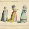 Servante et dames. Fin du règne Louis XVI. (Gravures du Duhamel etc.) XVIIIe siècle, costumes civils, femmes, France.