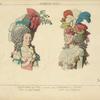 Coiffures de 1790. D'apres des gravures du temps. Coiff[ure] dite sans redoute. Coiffure dit à la nation.