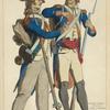 Republique Francaise infanterie. Fusilier et grenadier. 1792-99. Estampe du temps.