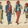 Revolutionnaires. Paris 1793-94. D'ap[rès] les estampes du temps. Membre de la commune. Geolier a la tour du temple. Suppot des comités. Sectionnaire battant la generale.