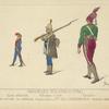 Insurgés Polonais (1794). Garde nationale, Yolontaire à pied, cavalier. D'ap[rès] nature par Norblin. Collection de la psse. Iza Czartoryska. Dessins inédits.