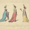 Toilettes de soirées, d'apres le Journal des Dames. An X, an XI, an VIII. XVIIIe siècle, costumes civils, femmes, France.