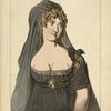 Marie Federowna impe., veuve du czar Paul 1er costume de Deuil. 1802-05. Tableau de l'epoque. Dessin inedit.