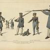 Landwehr Prussienne. 1813-15. D'ap[rès] des gravures du temps. Pomeraniens, Miliciens. Officier. Grand Uniforme. Etudiant.
