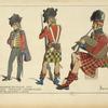 Infanterie Écossaise. 1815. Officier. Tirailleur. Cornemusier. D'ap[rès] des gravures du temps.