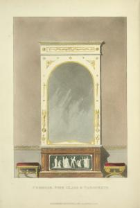 Commode, pier glass & tabourets.